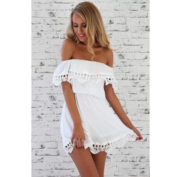 Mode Frauen Elegant Vintage süße Spitze weiß Kleid stilvolle sexy Schrägstrich Hals beiläufige dünne Strand Sommer Sundress Vestidos