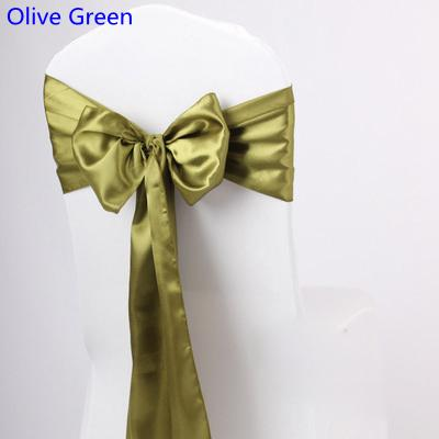 Olive Green Colour satin sash chair high quality bow tie for chair covers sash party wedding hotel banquet home decoration wholesale