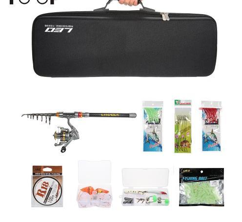 Fishing Rod Reel Combo Full Kit Spinning Fishing Reel Pole Set with Fishing Line Lures Hooks Carrier Bag Case