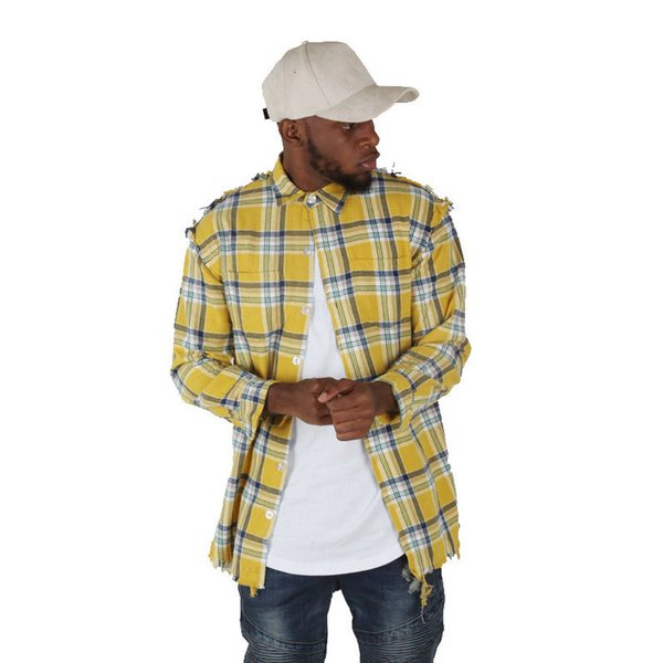 fahion hip hop yellow plain shirts fashion street wear long sleeve shirt man hot selling oversize new design checked