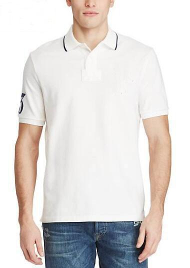 Top Express Men Solid Polo Shirt With Big Horse Number 3 Mens Striped Polo Shirts Camisa Masculina Casual Cotton Polos White Red
