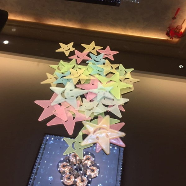 Glow Wall Stickers Luminous Decal Baby Kids Bedroom Home Decor Color Stars Luminous Fluorescent 3d Decor Removable Decoration