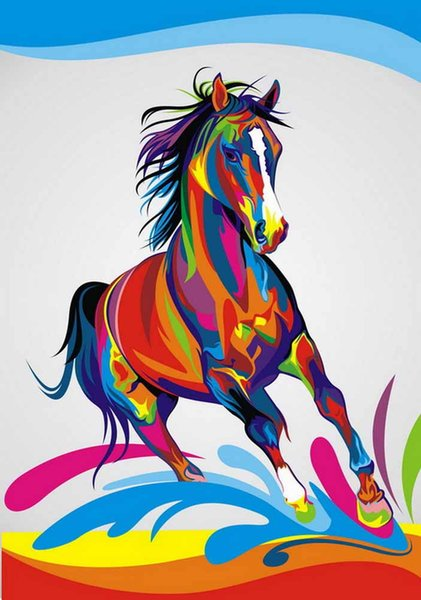 Home Office Decoration Living Room Art Wall Decor HD Prints Animal Color Horse Oil Painting Pictures Printed On Canvas
