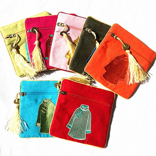Vintage Embroidery Clothes Small Zip Bags Cotton Linen Coin Purse Travel Jewelry Gift Pouches Chinese style Tassel Bracelet Storage Bag