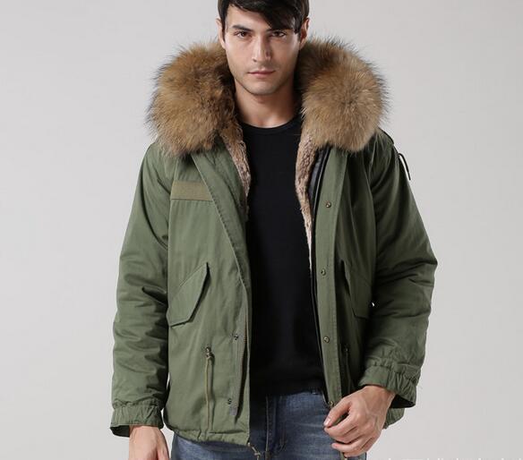 4XL3XL Men coats Meifeng brand brown raccoon fur trim hoody Vertical apricot rabbit fur lining army green canvas mini parkas with ykk zipper