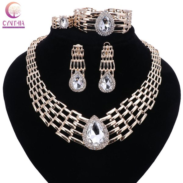 Women Italy Dubai Crystal Gold Plated Jewelry Sets Necklace Earrings Ring Wedding Party Bridal Accessories Costume Jewelry Sets