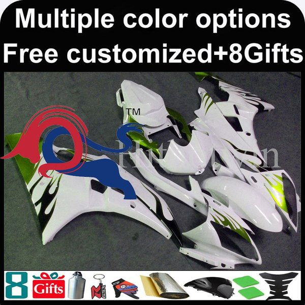 flames +white kit motorcycle cowl for Yamaha YZF-R6 2006-2007 06 07 YZFR6 2006 2007 06-07 ABS Plastic Fairing