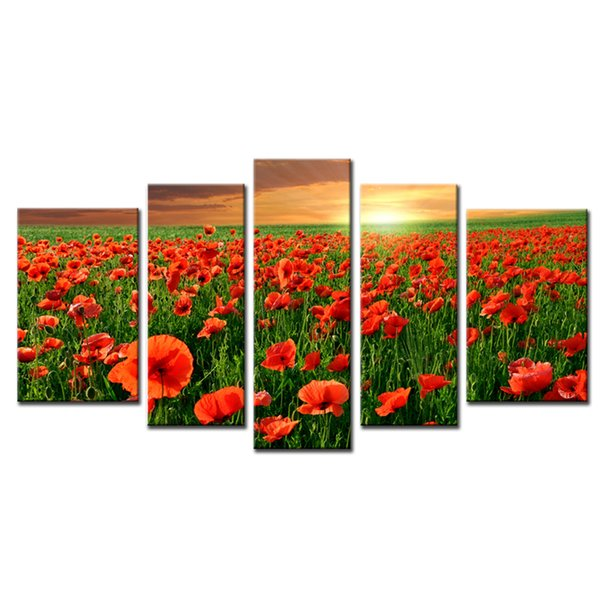 5 Panels Flower Sea Wall Art Canvas Painting Beautiful Red Poppy Flower with Wooden Framed For Home Decoration Ready to Hang