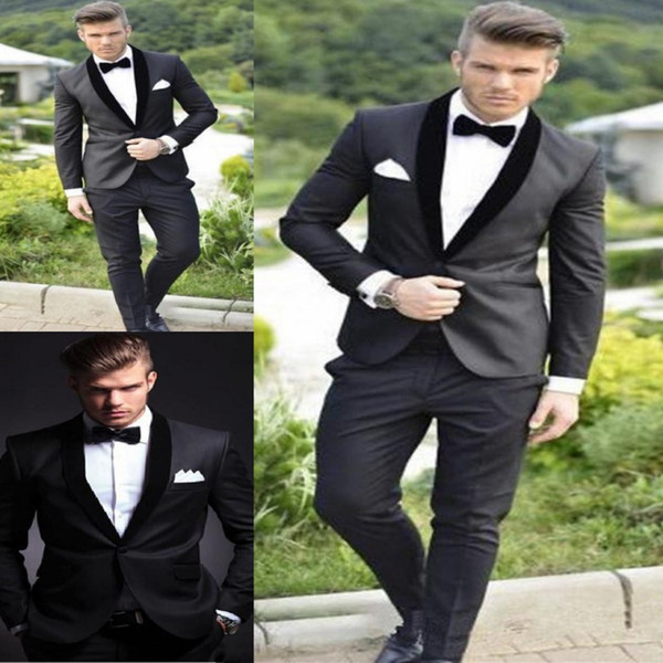 2017 Groom Tuxedos Custom Made Charcoal Grey Best man Shawl Black Collar Groomsman Men Wedding Suits Bridegroom (Jacket+Pants+Bowtie)