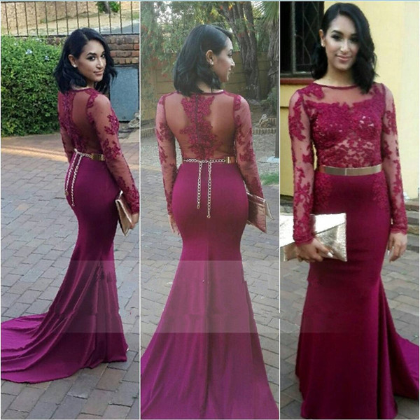 Chiffon with Lace Mermaid Prom Dresses 2017 Scoop Long Sleeve Zipper Sweep Train Applique with Belt Sexy Evening Dresses 2017