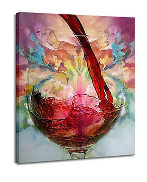 Free Shipping No Frame Wine Glass Hand-painted Abstract Oil Painting for Home Living Room Bedroom Hotel Decoration