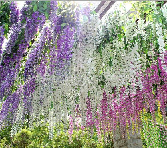 Glamorous Wedding Ideas Elegant Artifical Silk Flower Wisteria Vine Wedding Decorations 3forks per piece High Quantity Long 72cm 110cm