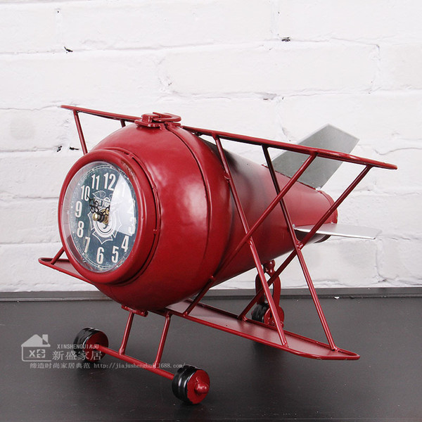 Wholesale-European and American fashion airplane shape wrought iron home decor table clock klok relogio de mesa watch masa saati