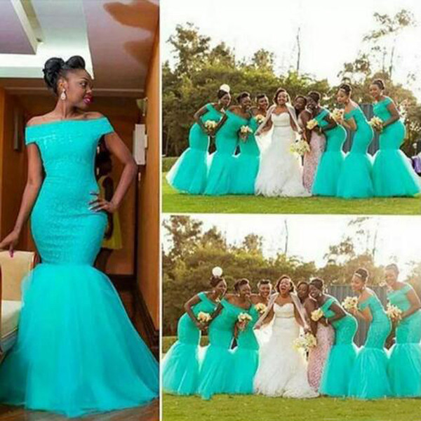Elegant South Africa Style Nigerian Bridesmaid Dresses Plus Size Mermaid Maid Of Honor Gowns for Wedding Off Shoulder Turquoise Tulle Dress