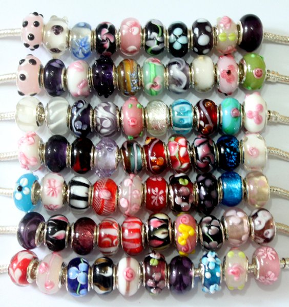 best selling 100 Pcs Mixed 925 Sterling Silver Handmade Lampwork Murano Glass Charm Beads For Pandora European Jewelry Bracelet+ 1 Leather bracelet gift