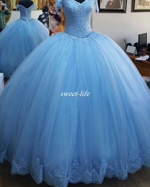 Vestidos De Festa Para Casamento 2020 Céu Azul Quinceanera Vestidos Fora Do Ombro Espartilho Voltar Lantejoulas Renda Trem Da Varredura Custom Made
