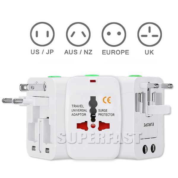 Universal International Adapter All in One Travel Cargador de pared de corriente alterna para EE.UU. UE UK AU convertidor de enchufe con paquete comercial