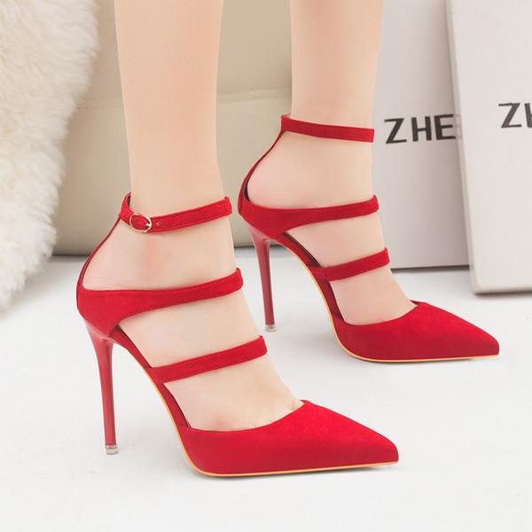 dd95ca7d negro / marrón / rojo / recoger baratos Sandalias de tacón alto de las  mujeres para