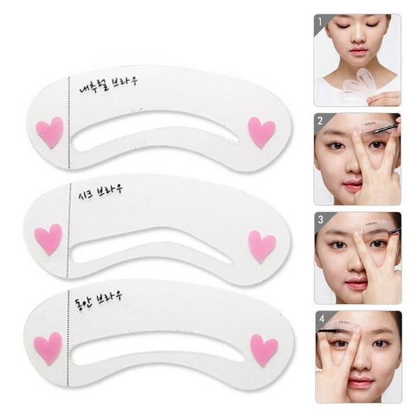 3Pcs Eyebrow Grooming Stencils Women Eye Brow Eyeliner Shaping Stencil Eyebrow Shadow Shaper Kit Set Professional Makeup Tools