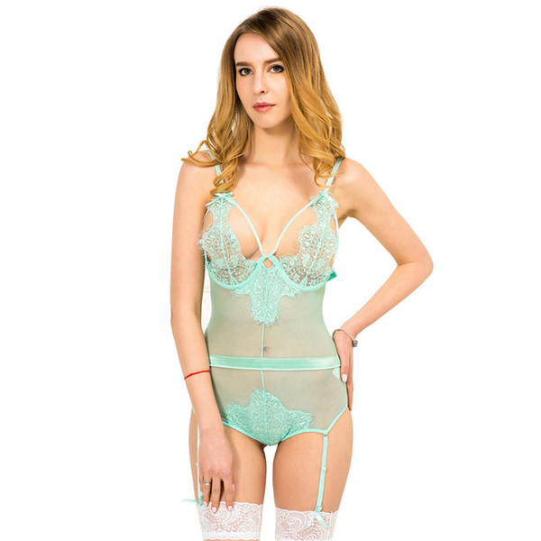 Europe and America Foreign Trade Lingerie Dew Chest Garter Suits Lace Sex Pajamas Wholesale 012