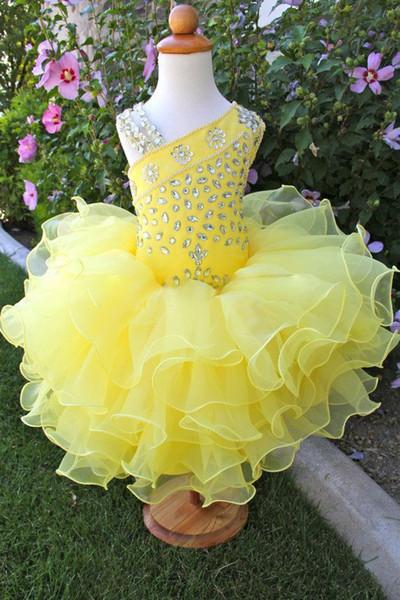 One shoulder spaghetti organza beaded cheap mini short ball gown cupcake toddler little girls pageant dresses flower girl for weddings glitz
