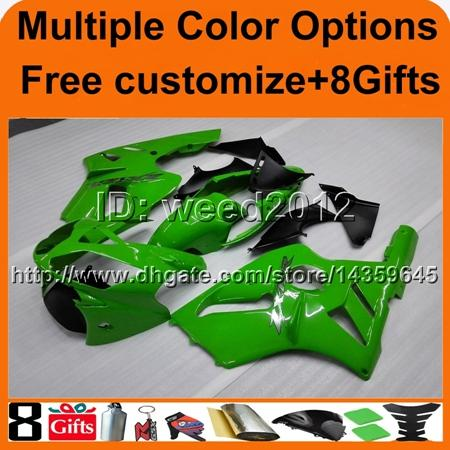 8Gifts+Tank cover green gloss ABS articlw ZX12R 2002 2003 2004 motorcycle fairing for Kawasaki Ninja
