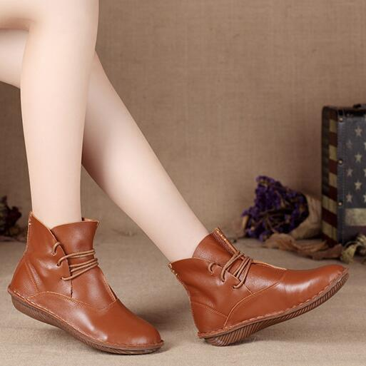 Women cow leather ankle boots lace up single shoes retro Japanese art Sen female round boots women outdoors short boots
