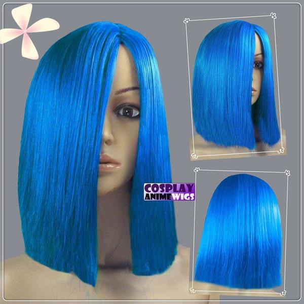 35cm Dark Blue Heat Resistant Fiber Side Part Short Cosplay Wigs 97_512