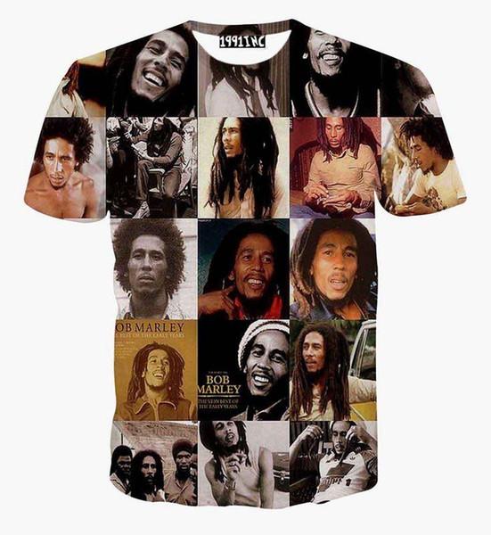 2017 mode étoiles hommes t shirt harajuku été hommes / femmes impression 3d Bob Marley emoji t-shirt cool nouveauté hip hop tops chemises