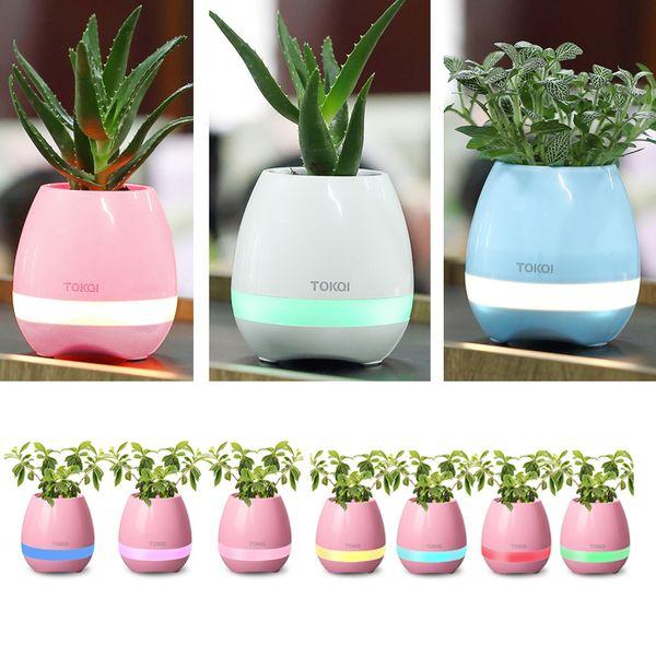 CRESTECH Bluetooth LED Veilleuse Smart Flowerpots Bluetooth Haut-Parleur Musique Lecture Sans Fil Flowerpot Veilleuses Coloré Led Lumière
