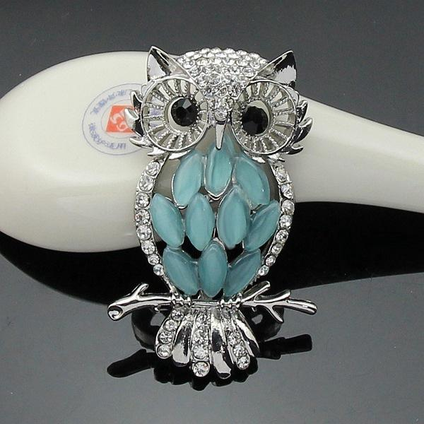 Vintage Cheap Crystal Rhinestone Perched Cute Green Eyed Owl Brooch and Pin for Sale