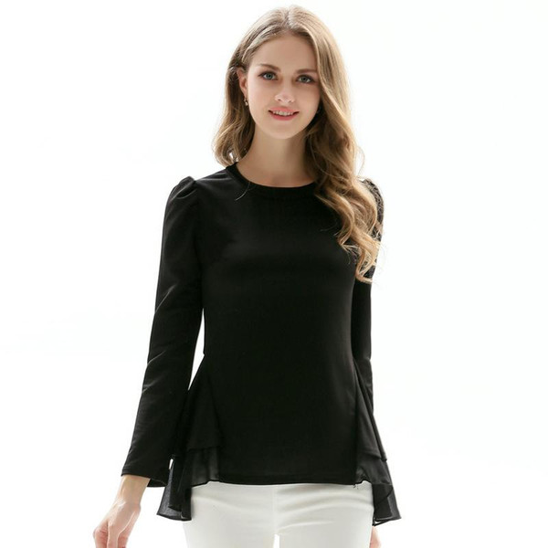 c207cdcc6eb25 T-shirts Women 2017 Autumn Solid Long Puff Sleeve Tops O-Neck Female Tees  Loose Fashion White Black Casual Plus Size