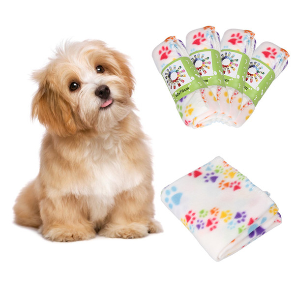 Macio Cozy Dog Paw Prints Artesanais Pet Cobertor de Lã de Algodão Quente Pet Mat Dog Cat Capa para o Filhote de Cachorro 60x70 cm