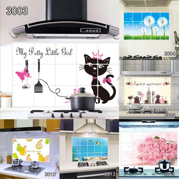 10 Styles 75cm*45cm Various Kitchen Anti-oil Wall Stickers Multi-style Home Decor Mural Art Decals Home Indoor Decorations