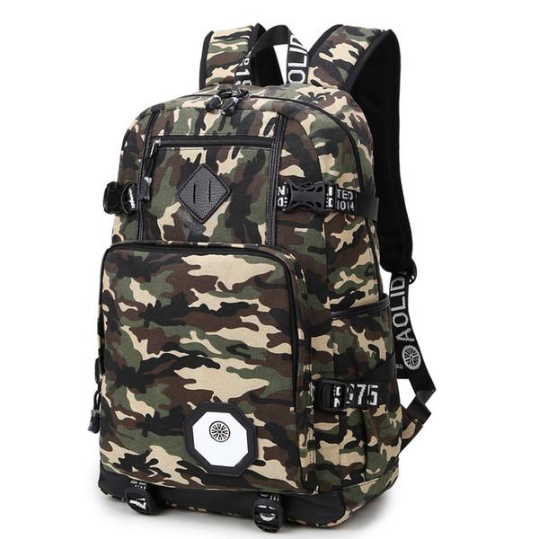 Atacado-Como Moda mochilas dos homens do exército verde camuflagem mochila legal high school sacos para adolescentes meninos grande capacidade