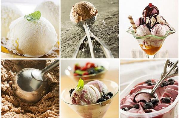 100 pcs Cozinha Ice Cream Mash Batata Colher Colher De Aço Inoxidável Alça de Mola Acessórios de Cozinha Por Atacado 4 cm 5 cm 6 cm # RC658