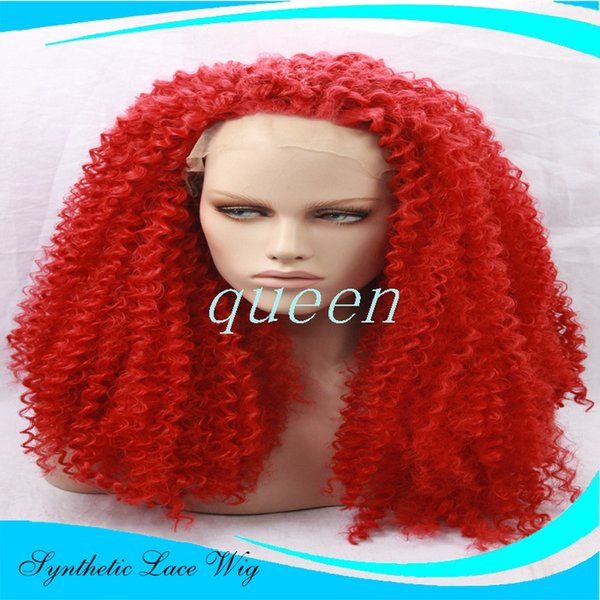 """Hot sale Glueless Heat Resistant Natural Black/Dark Brown Afro Kinky Curly Synthetic Lace Front Women Wigs #1/#2 red (Aurica-22.25""""M)"""