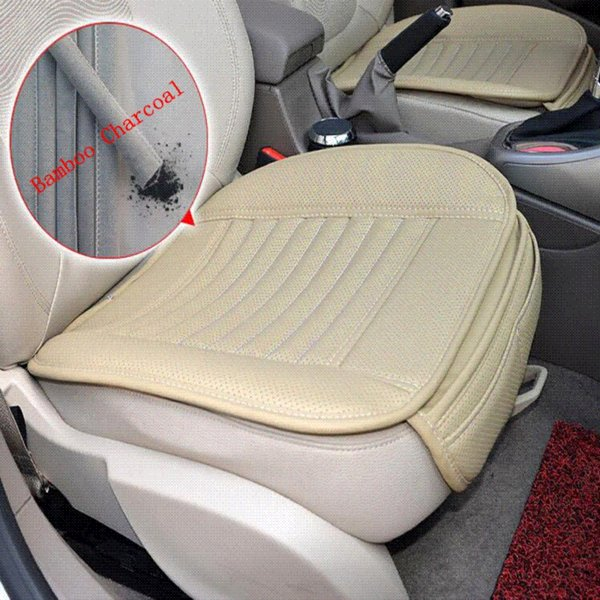 Breathable 2pc Car Interior Seat Cover Cushion Pad Mat for Auto Supplies Office Chair with PU Leather Bamboo Charcoal 3 Color