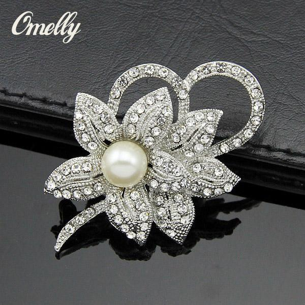 Colorful Rhinestone Crystal Paved Brooch Pins Pearl Flower Scarf Buckle Wedding Bouquet Brooches Pin Wholesale Cheap Price New Design