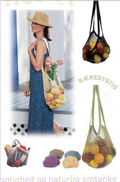 top popular 10pcs 2017 New Arrival Mesh Net Turtle Bag String Shopping Bag Reusable Fruit Storage Handbag Totes Short handle mesh bag 2019