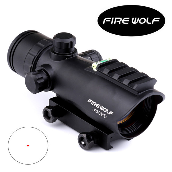 2017 NEW Fire Wolf 1X30 Hunting Tactical Riflescopes Bubble Level Red Green Dots Optical Sight Scope Adjustable Scope