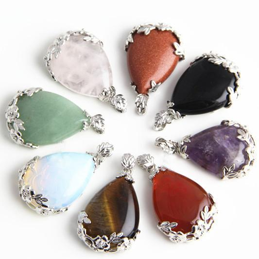 Wholesale Lots Jewelry Water Drop Natural Assorted Gemstone Stone Pendants Necklace Stone Beads Fit Bracelets and Necklace Charms Wholesale