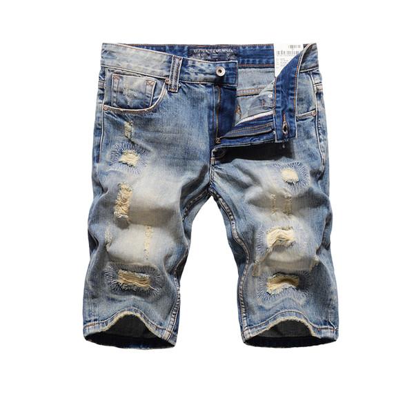 Wholesale- Brand Clothing Mens Destroyed Jeans Shorts High Quality Straight Fit Knee Length Designer Blue Denim Ripped Short Jeans Men R109