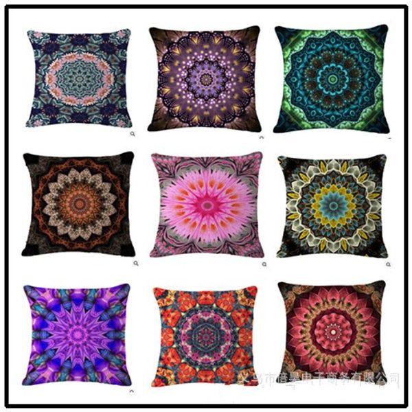 Bohemian Style Mandala Pillows Cases Plant Flower Cushion Covers ...