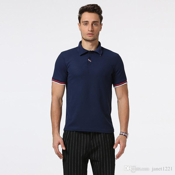 Slim Men Summer Polo Casual Fashion Patchwork Polo Top Tee Short Sleeve Solid Plus Size Polo Shirt For Mens J170325
