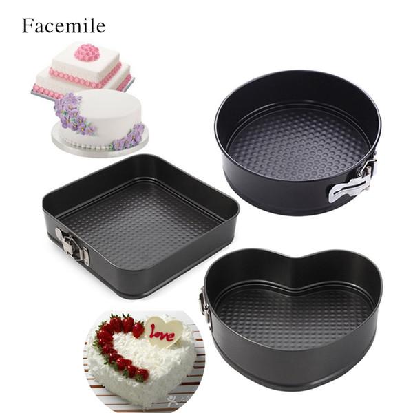 Toptan-Facemile Kalp Kare Yuvarlak Çelik Yapışmaz Hediye Pişirme Yemekleri Tavalar Çıkarılabilir Alt Bakeware Springform Pan Kek Tavalar 54104