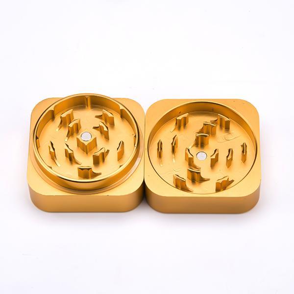 Wholesale 55*55mm 2 parts grinder golden color foursquare shape style grinder Sharp teeth Luxury Aluminium tobacco grinder