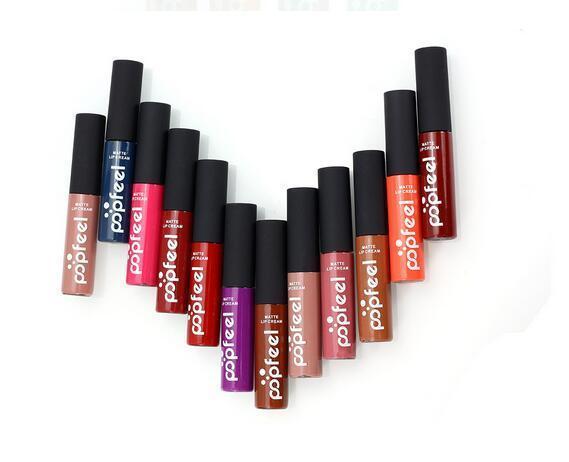 POPFEEL lipstick Cosmetic Makeup Lipstick Long-lasting Waterproof Not Fade lip gloss Soft Matte Lip Cream Charming popular 2017 new