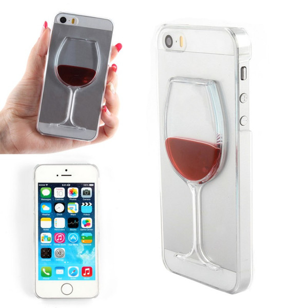 Liquid Quicksand wine glass cocktail bottle Phone Cover Case For IPhone 5 5s New