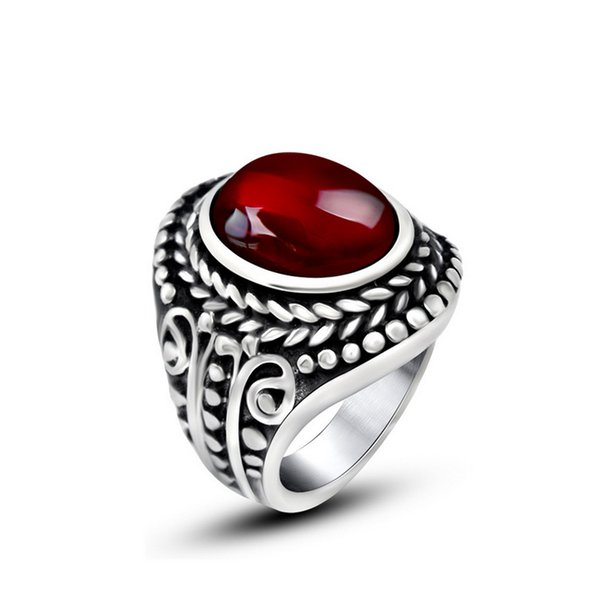 Vintage Design Mens Titanium Steel Ring Red Black Agate Rings Antique Silver Gemstone Jewelry Party Gifts 7-12 Sizes